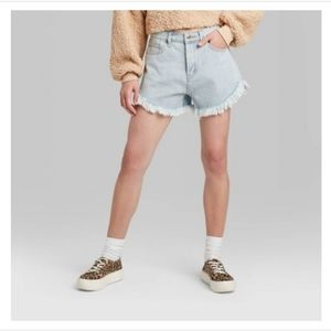 Women's High-Rise Frayed Jean Shorts - Wild Fable
